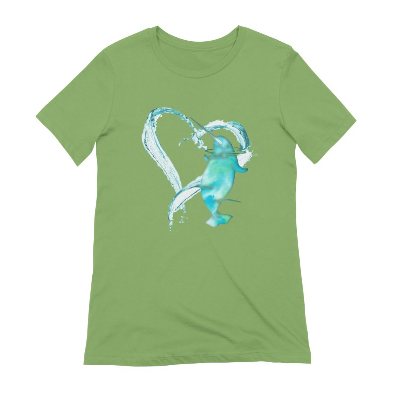I Love Narwhals Women's Extra Soft T-Shirt by Ferine Fire