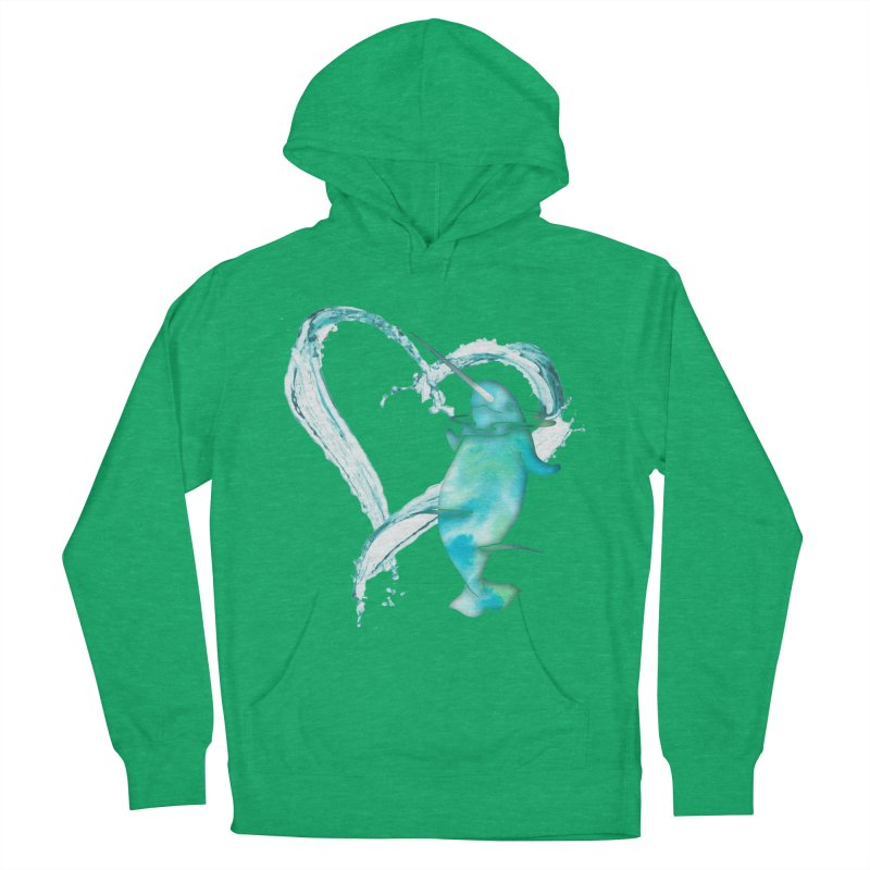 I Love Narwhals Men's French Terry Pullover Hoody by Ferine Fire