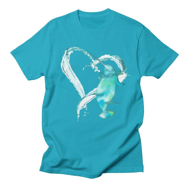 I Love Narwhals Men's Regular T-Shirt by Ferine Fire