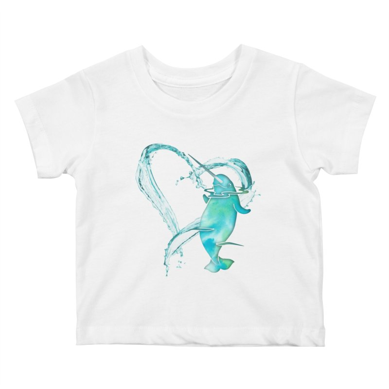 I Love Narwhals Kids Baby T-Shirt by Ferine Fire