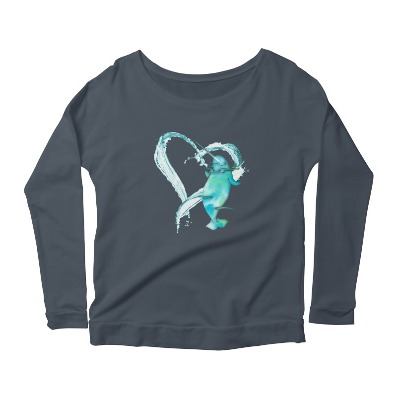I Love Narwhals Women's Scoop Neck Longsleeve T-Shirt by Ferine Fire