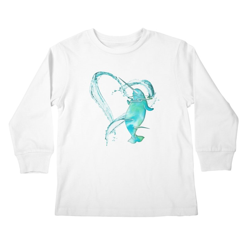 I Love Narwhals Kids Longsleeve T-Shirt by Ferine Fire