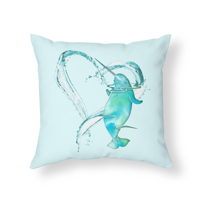I Love Narwhals Home Throw Pillow by Ferine Fire