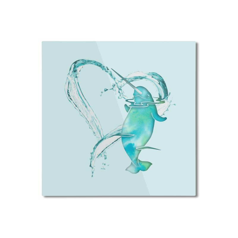 I Love Narwhals Home Mounted Aluminum Print by Ferine Fire