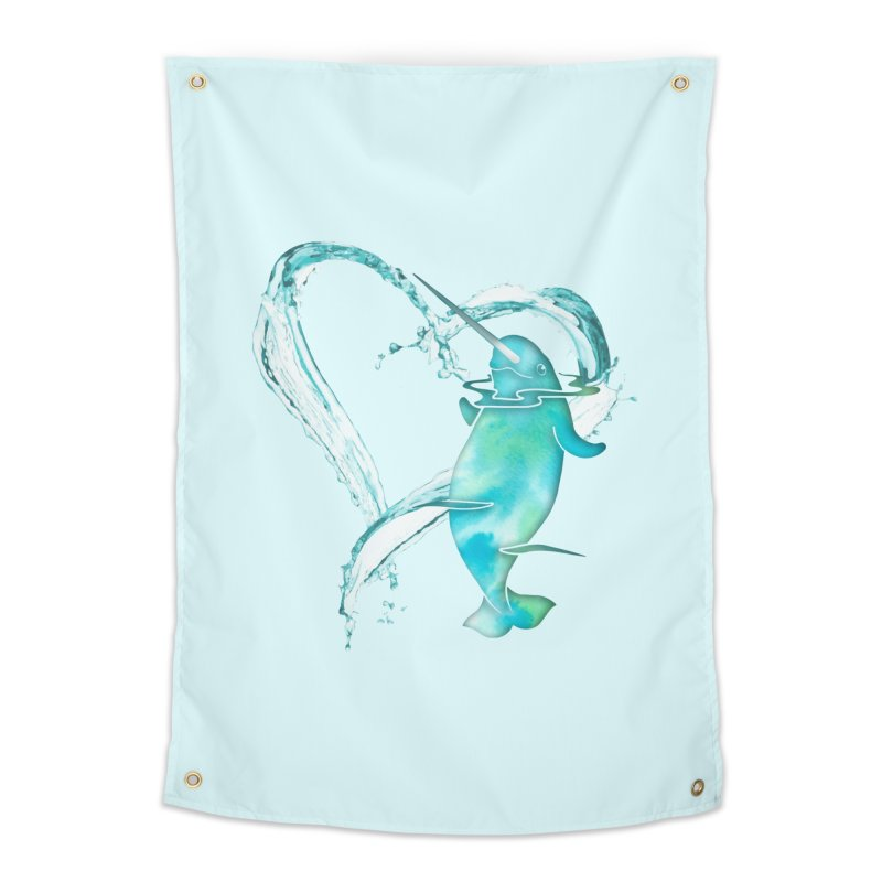 I Love Narwhals Home Tapestry by Ferine Fire