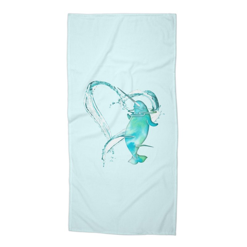 I Love Narwhals Accessories Beach Towel by Ferine Fire