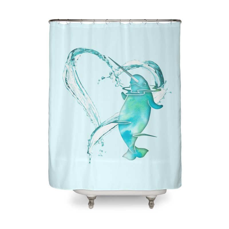 I Love Narwhals Home Shower Curtain by Ferine Fire