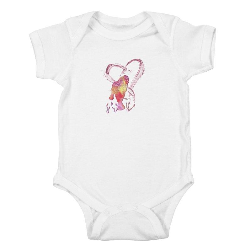 I Love Manatees Kids Baby Bodysuit by Ferine Fire