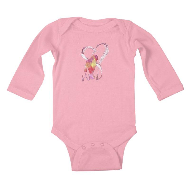 I Love Manatees Kids Baby Longsleeve Bodysuit by Ferine Fire