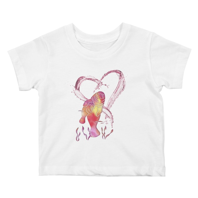 I Love Manatees Kids Baby T-Shirt by Ferine Fire