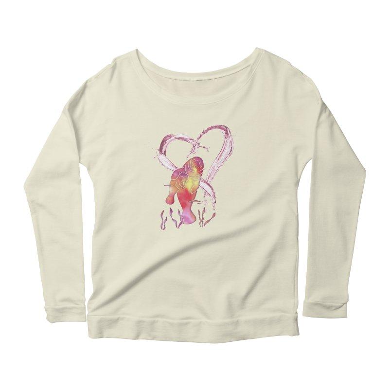 I Love Manatees Women's Scoop Neck Longsleeve T-Shirt by Ferine Fire