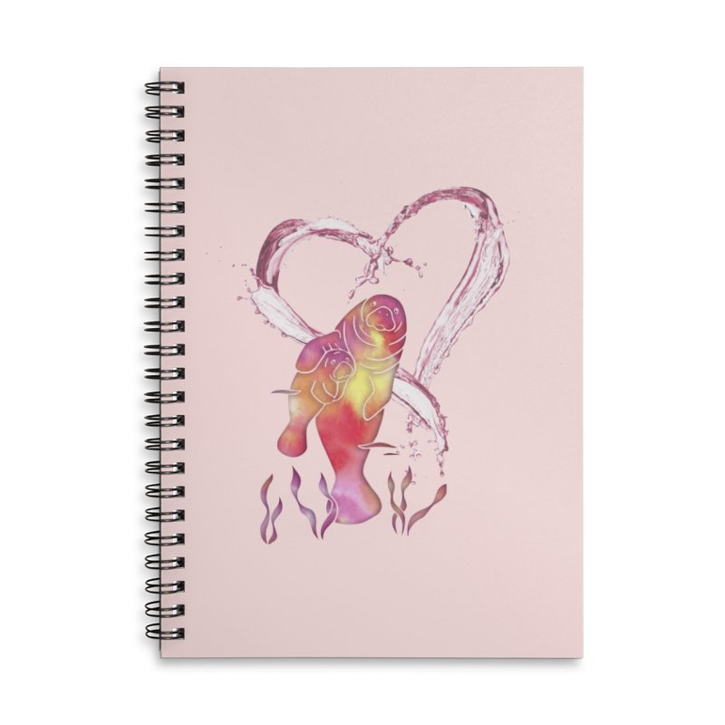 I Love Manatees Accessories Lined Spiral Notebook by Ferine Fire
