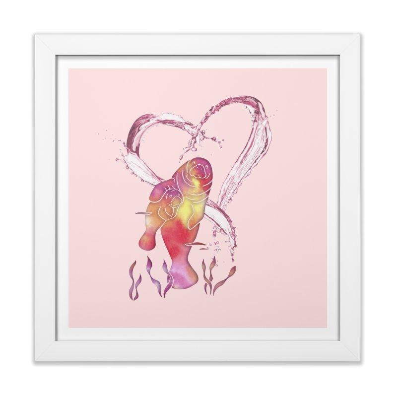 I Love Manatees in Framed Fine Art Print White by Ferine Fire