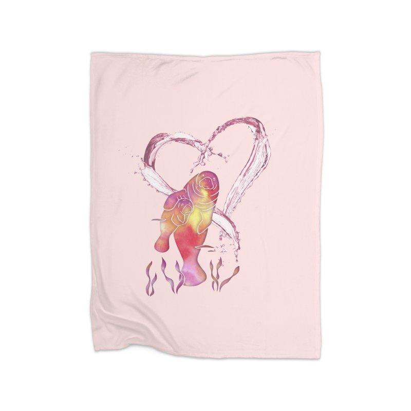 I Love Manatees Home Fleece Blanket Blanket by Ferine Fire