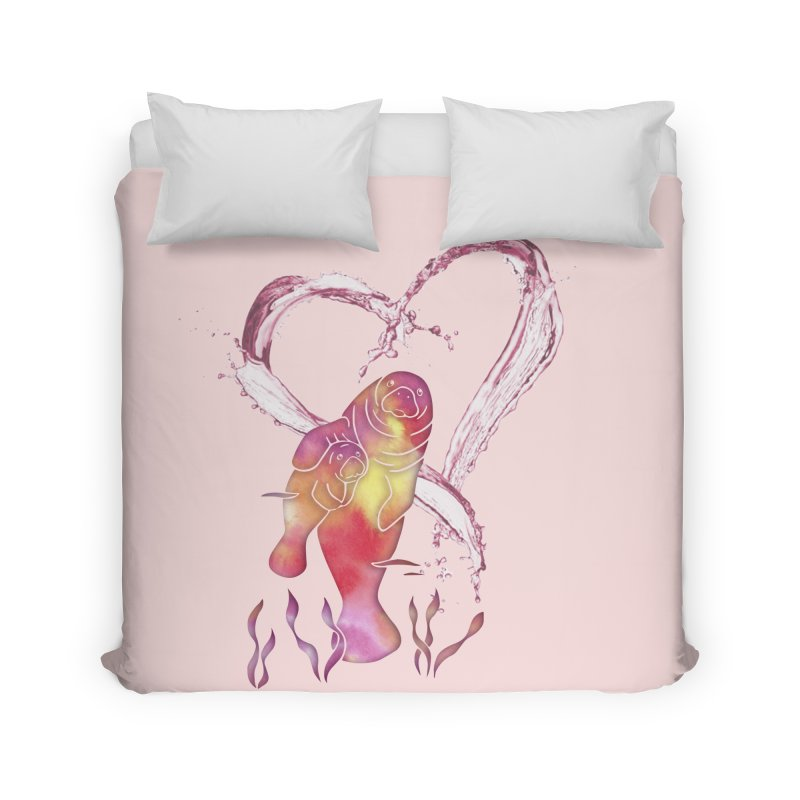 I Love Manatees Home Duvet by Ferine Fire