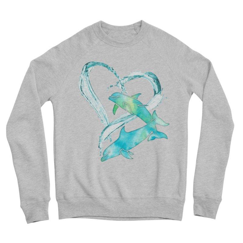I Love Dolphins Men's Sponge Fleece Sweatshirt by Ferine Fire