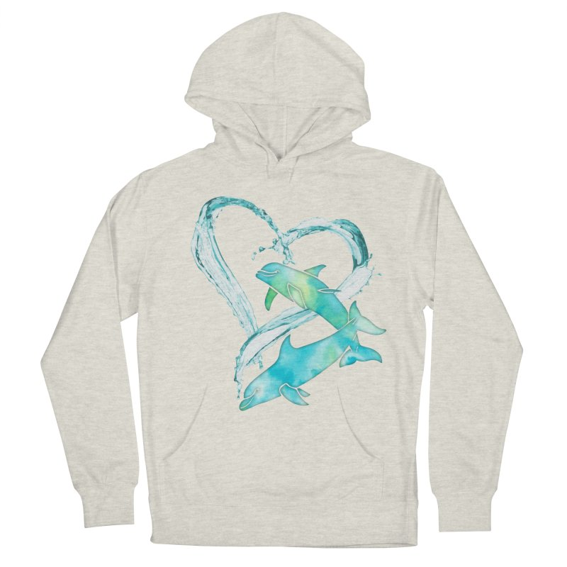 I Love Dolphins Women's French Terry Pullover Hoody by Ferine Fire