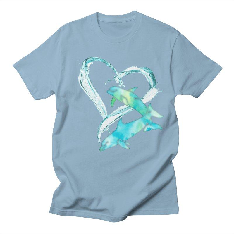 I Love Dolphins Women's Regular Unisex T-Shirt by Ferine Fire