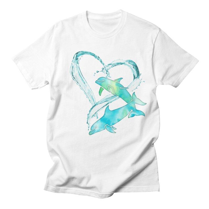 I Love Dolphins Men's Regular T-Shirt by Ferine Fire