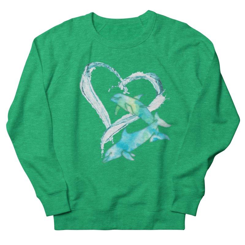 I Love Dolphins Women's French Terry Sweatshirt by Ferine Fire