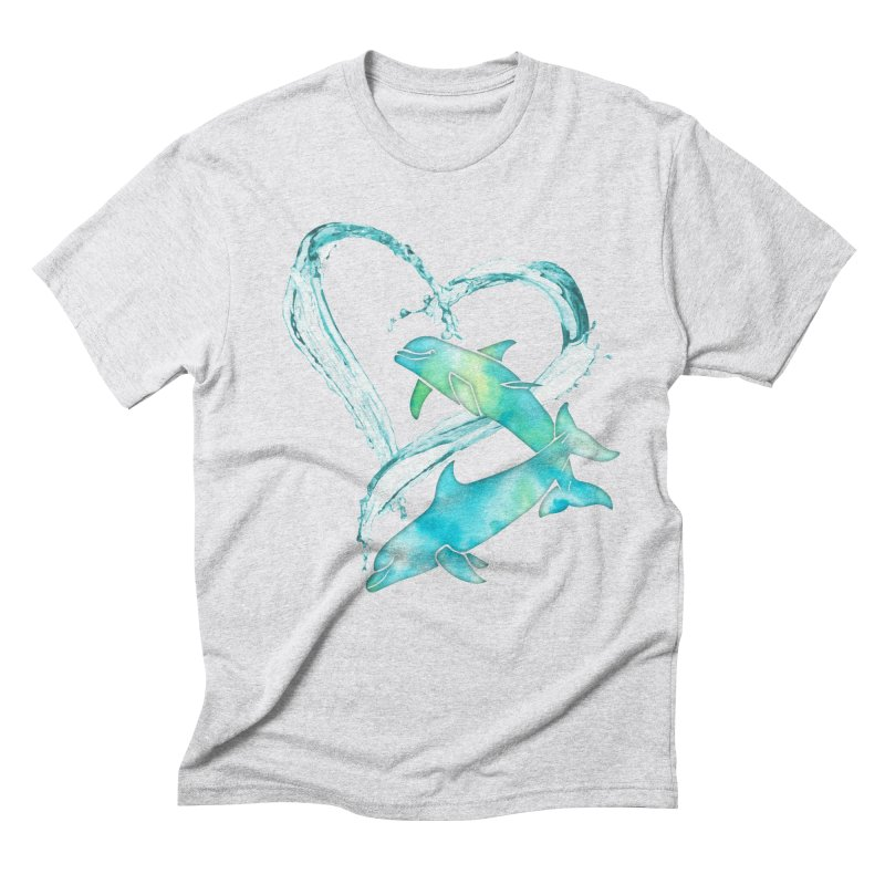 I Love Dolphins Men's Triblend T-Shirt by Ferine Fire