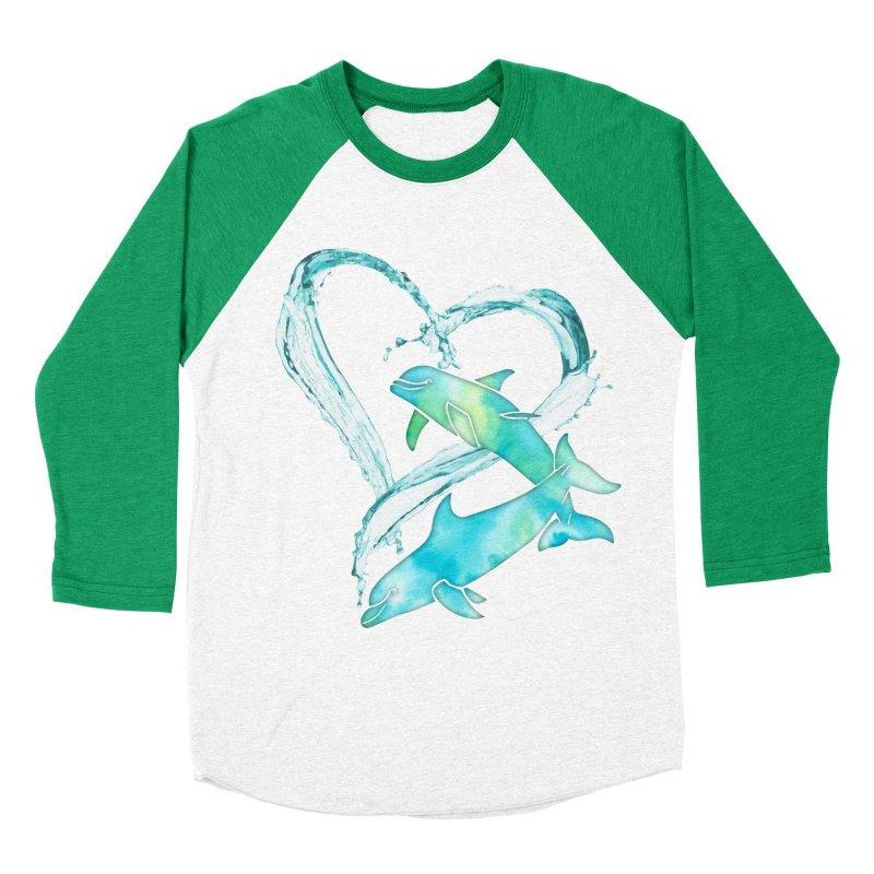 I Love Dolphins Women's Baseball Triblend Longsleeve T-Shirt by Ferine Fire