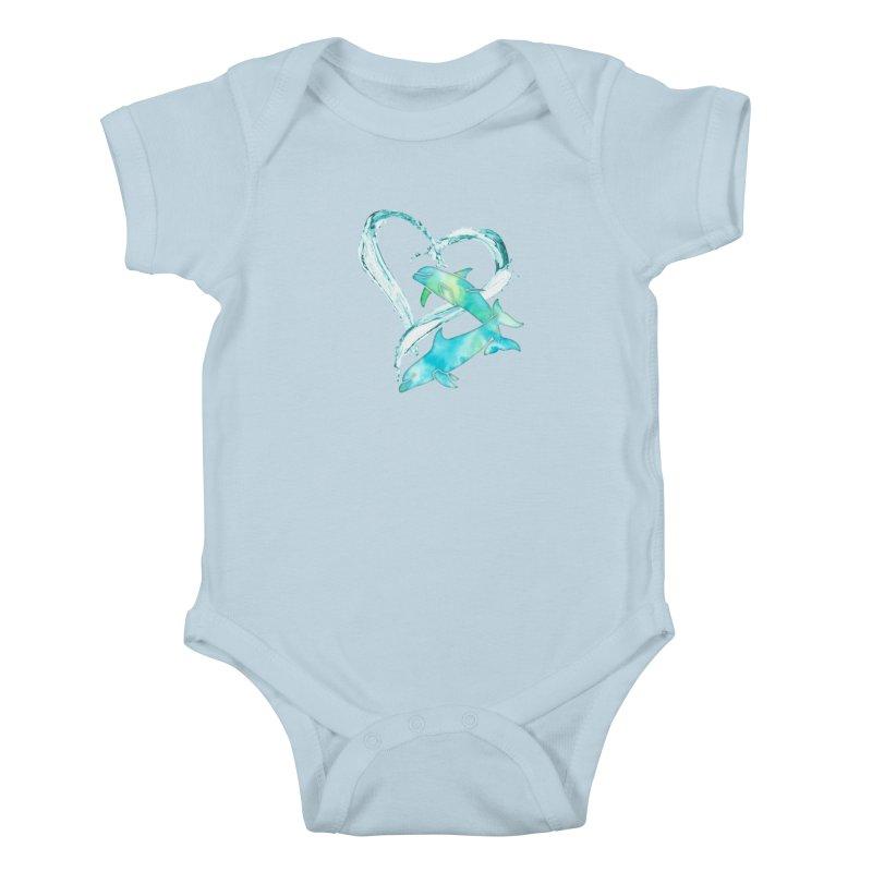 I Love Dolphins Kids Baby Bodysuit by Ferine Fire