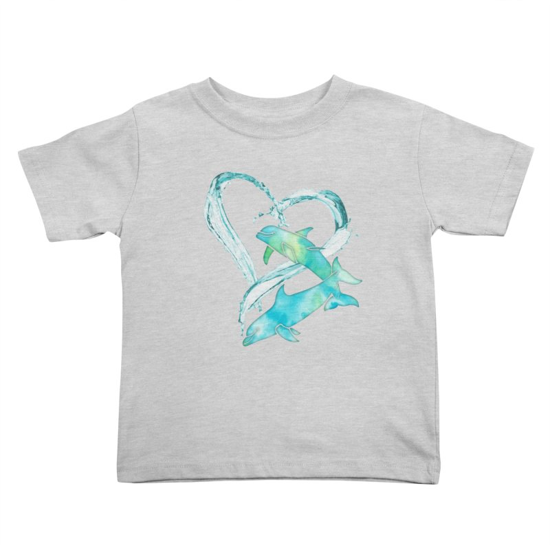 I Love Dolphins Kids Toddler T-Shirt by Ferine Fire