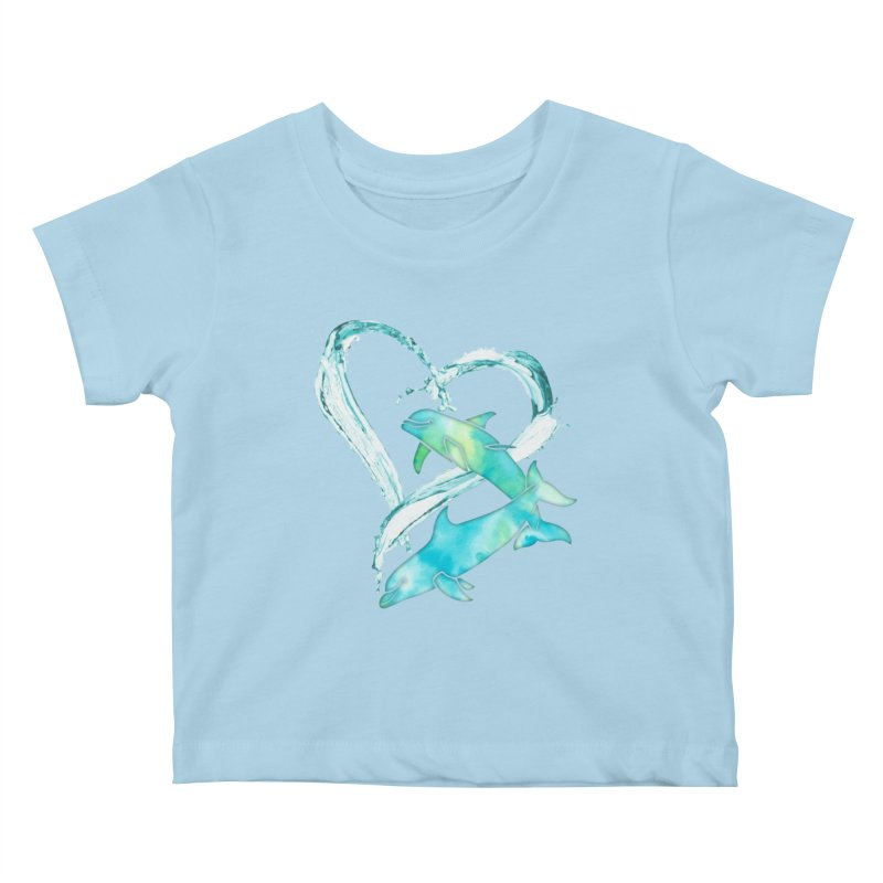 I Love Dolphins Kids Baby T-Shirt by Ferine Fire