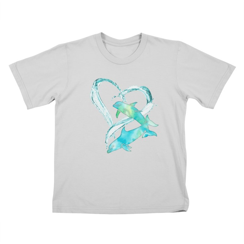 I Love Dolphins Kids T-Shirt by Ferine Fire