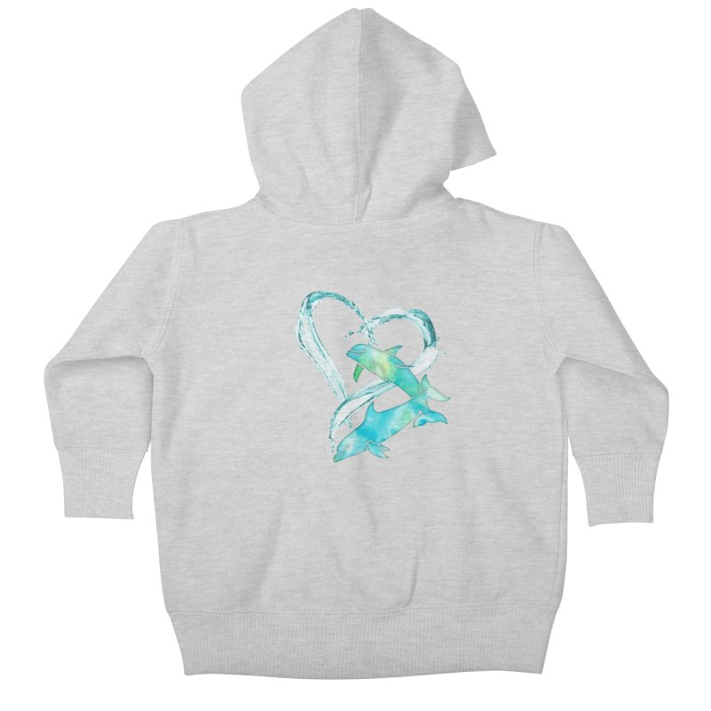 I Love Dolphins Kids Baby Zip-Up Hoody by Ferine Fire
