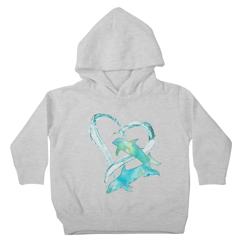 I Love Dolphins Kids Toddler Pullover Hoody by Ferine Fire