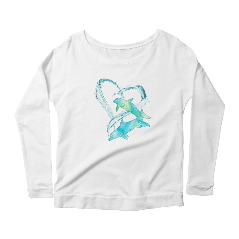I Love Dolphins Women's Scoop Neck Longsleeve T-Shirt by Ferine Fire