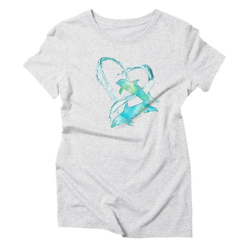I Love Dolphins Women's Triblend T-Shirt by Ferine Fire