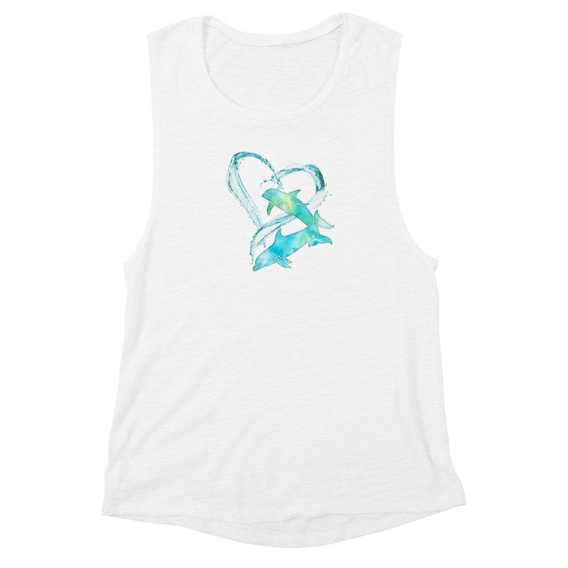 I Love Dolphins Women's Muscle Tank by Ferine Fire