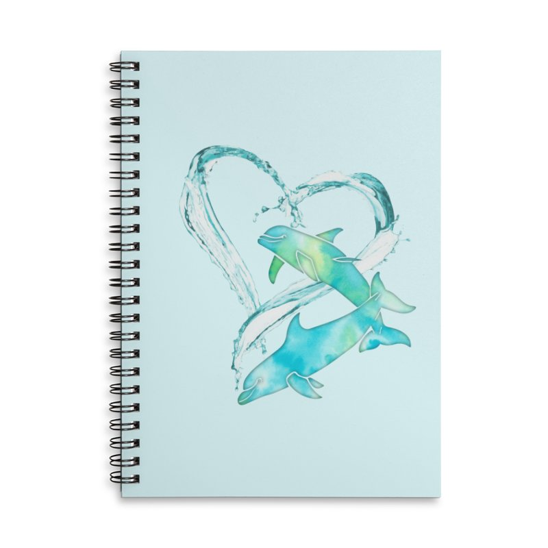 I Love Dolphins Accessories Lined Spiral Notebook by Ferine Fire