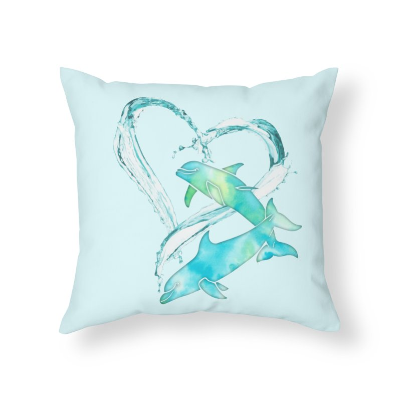 I Love Dolphins Home Throw Pillow by Ferine Fire