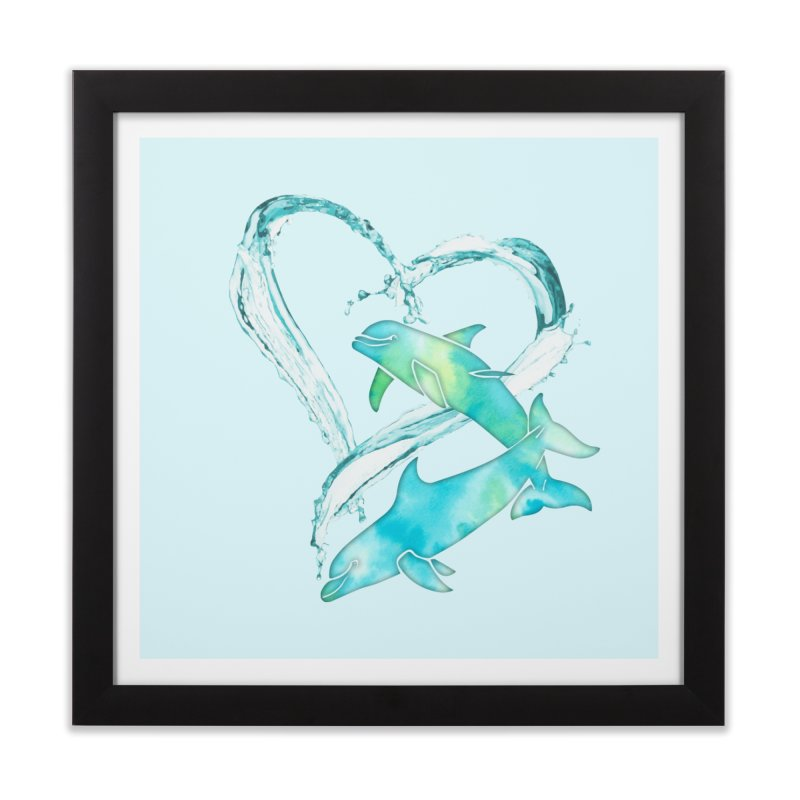 I Love Dolphins Home Framed Fine Art Print by Ferine Fire