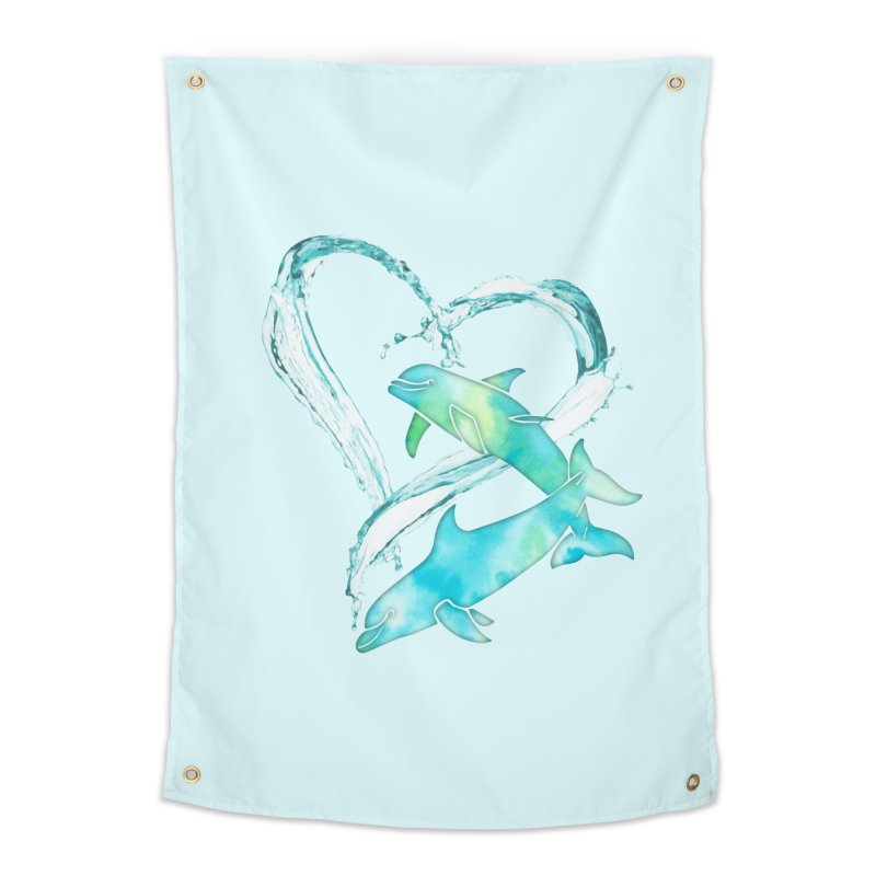I Love Dolphins Home Tapestry by Ferine Fire