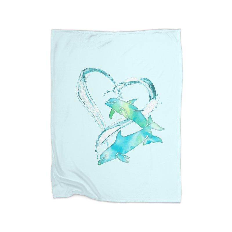 I Love Dolphins Home Fleece Blanket Blanket by Ferine Fire