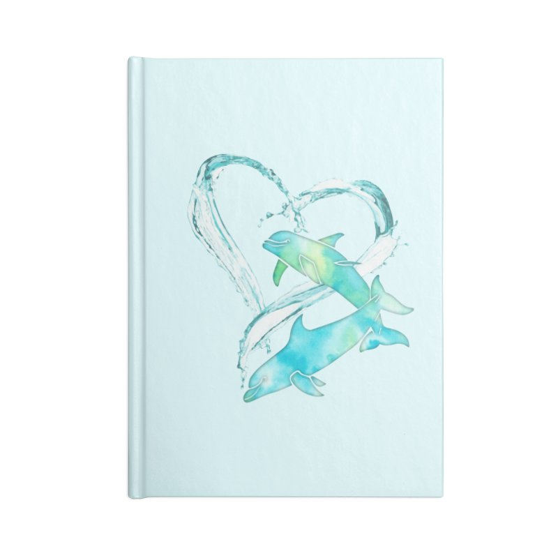 I Love Dolphins Accessories Lined Journal Notebook by Ferine Fire