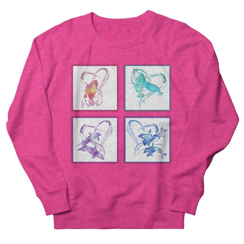 Ocean Love Women's French Terry Sweatshirt by Ferine Fire