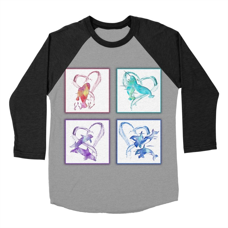Ocean Love Men's Baseball Triblend Longsleeve T-Shirt by Ferine Fire