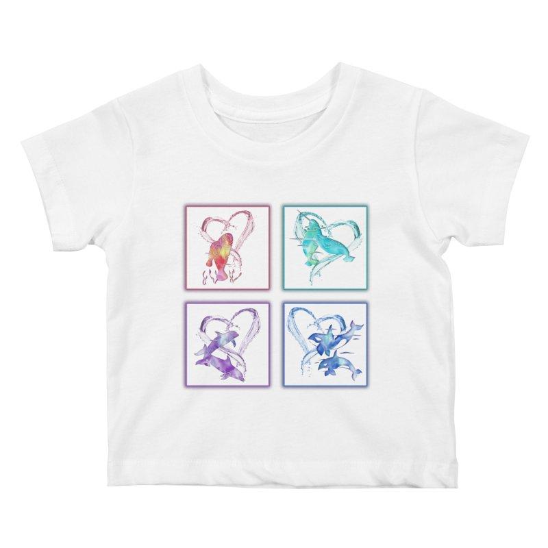 Ocean Love Kids Baby T-Shirt by Ferine Fire