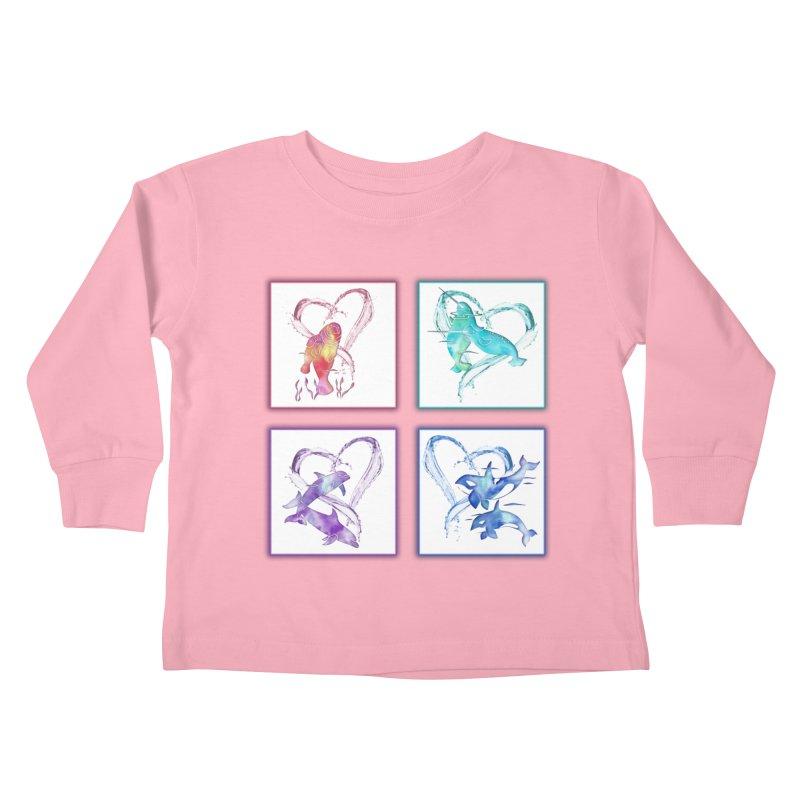 Ocean Love Kids Toddler Longsleeve T-Shirt by Ferine Fire