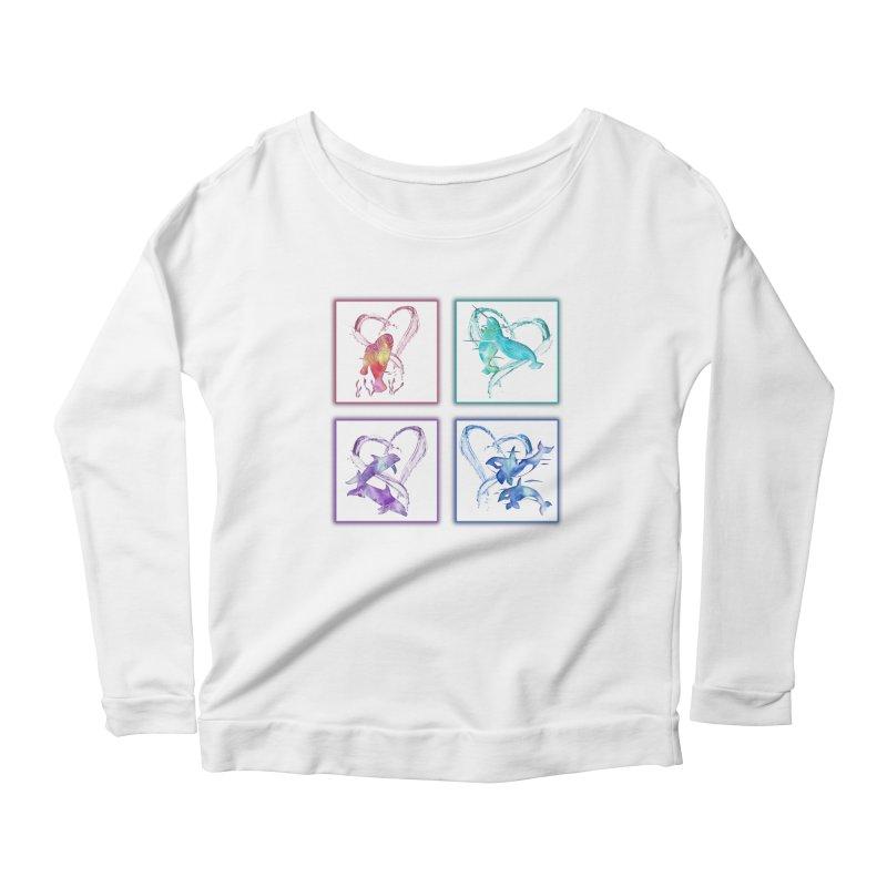 Ocean Love Women's Scoop Neck Longsleeve T-Shirt by Ferine Fire