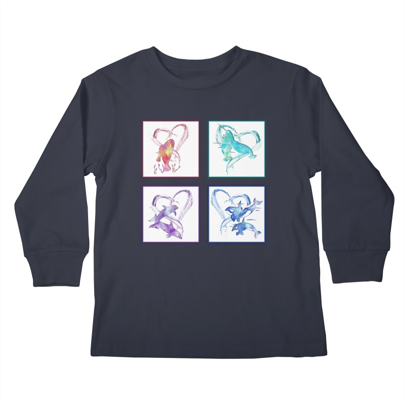 Ocean Love Kids Longsleeve T-Shirt by Ferine Fire