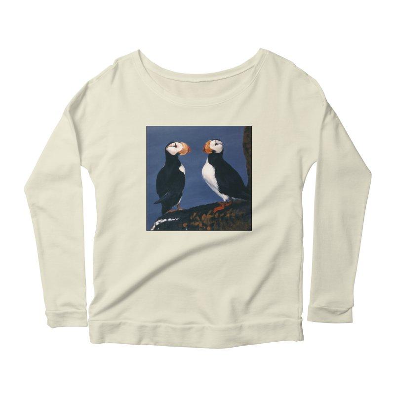 Two's Company Women's Scoop Neck Longsleeve T-Shirt by Ferine Fire