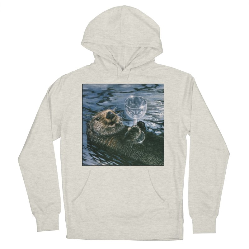 Ya Otter Relax Men's French Terry Pullover Hoody by Ferine Fire