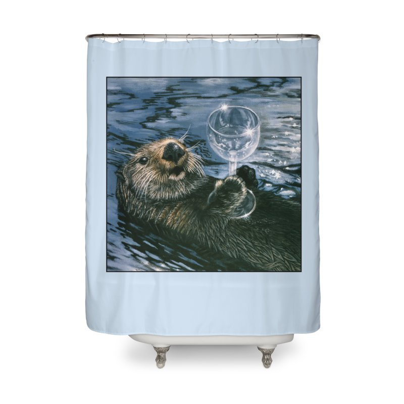Ya Otter Relax Home Shower Curtain by Ferine Fire